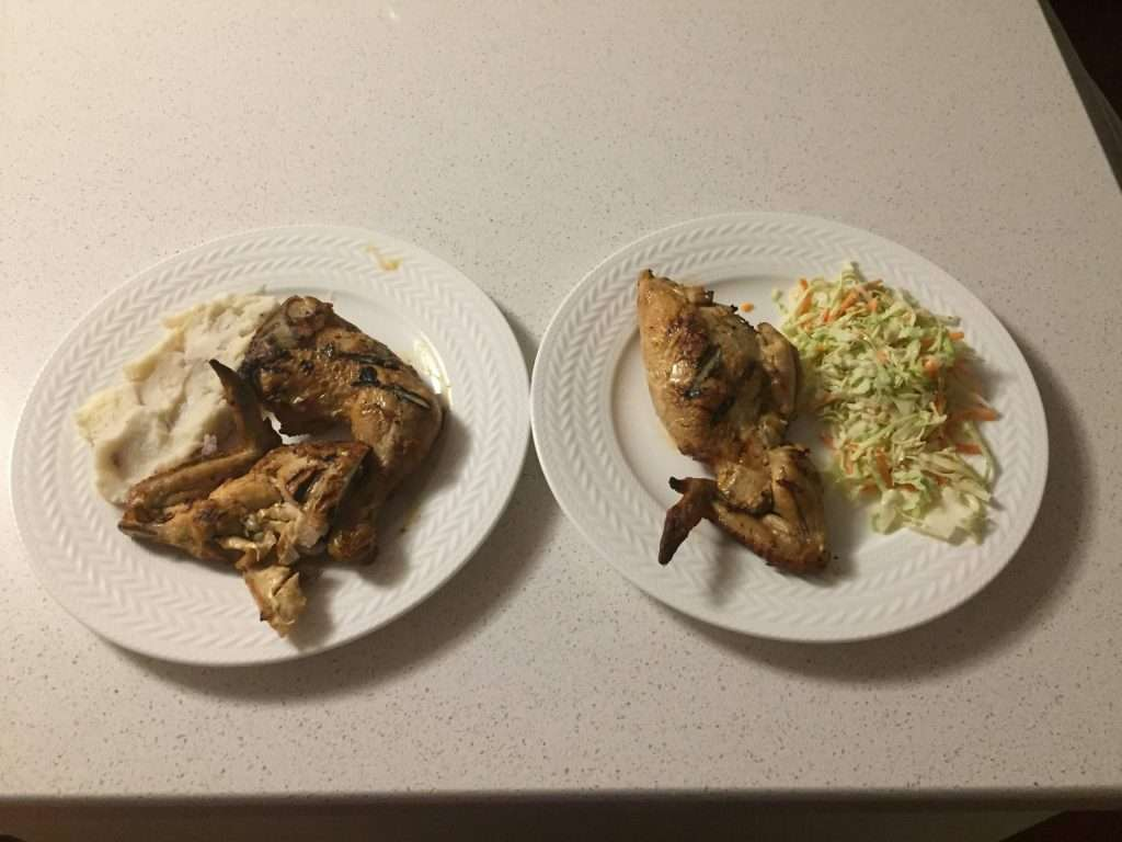 chicken smash potatoes and rice